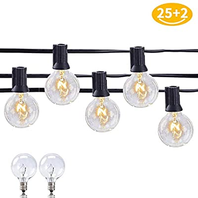 Outdoor String Lights for Garden Decor - Indoor Lampat 25Ft G40 Globe String Lights with Bulbs-UL Listd for Indoor/Outdoor Commercial Decor