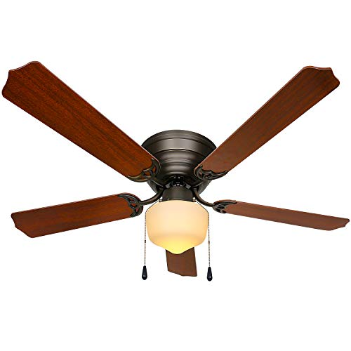 52 inch Ceiling Fans & Lighting,Contemporary Indoor LED Ceiling Fan with Lights and 5 Blades,Ceiling Fans for Dining room /family/ bedroom/ living room - 3 Speed Remote Control
