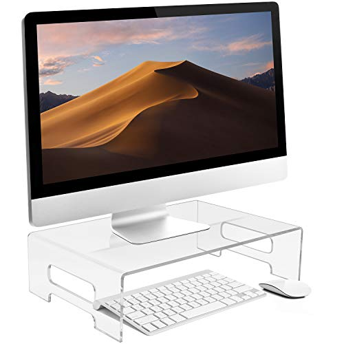 Sorbus Acrylic Monitor Stand, Clear Laptop Riser, Computer Desktop Stand, Desk Display Tray Shelf, Bed Tray with Carry Handles, Keyboard Cover, Laptop Monitor, Showcase Fixtures, Food Display Risers