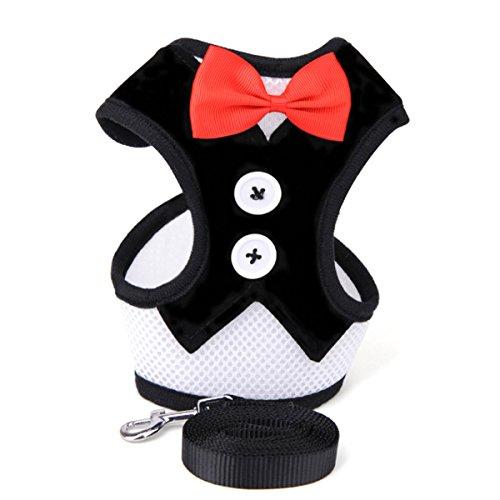 PETCUTE Hundegeschirr mit Leine Smoking Anzug für Hunde Hundeanzug Weihnachten Halloween süßer Hundegeschirr