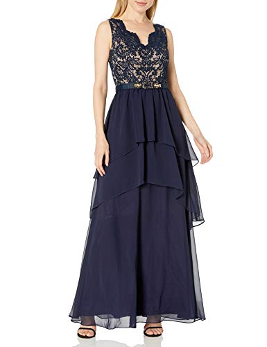 Eliza J womensEJ7M5740V-neck Sleeveless Gown Sleeveless Dress - Blue - 8