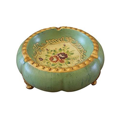 Cenicero Retro Plato de cerámica Pastoral Americana Cenicero Retro Antiguo Arte Decorativo del mobiliario Creativo de la pequeña Fruta (Color: Verde, Tamaño: F)