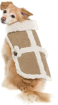 Sherpa Quilted Vest Cozy Winter Jacket Coat Sweater Hoodie Furry Collar Harness Pet Puppy Dog Christmas Clothes Costume Outwear Coat Apparel Cat