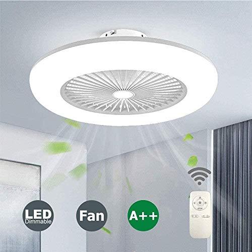 Fernbedienung Deckenventilator und Licht, unsichtbar kreative leise Lüfter Windgeschwindigkeit einstellbar Decke LED Dimmen (Color : White)