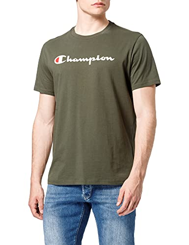 Champion Homme Classic Logo T-shirt T shirt, Vert Olive, M EU