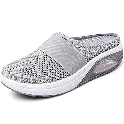 ergou Zapatillas de senderismo para mujer, transpirables, con soporte de arco para exteriores, de punto, informales, ortopédicas, para diabéticos (gris, 8)