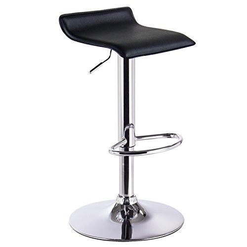 WOLTU BH11sz-1 Design Hocker Barhocker, stufenlose Höhenverstellung, verchromter Stahl, Antirutschgummi, pflegeleichter Kunstleder, gut gepolsterte Sitzfläche, Schwarz