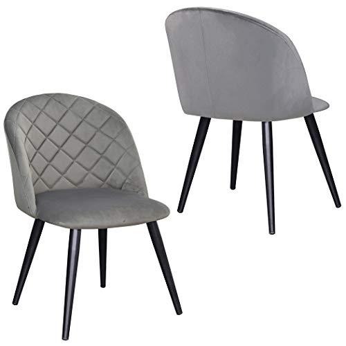 2er Set Esszimmerstuhl aus Stoff Samt Stuhl Retro Design Polsterstuhl mit Rückenlehne Metallbeine Farbauswahl Duhome 8052B, Farbe:Grau, Material:Samt