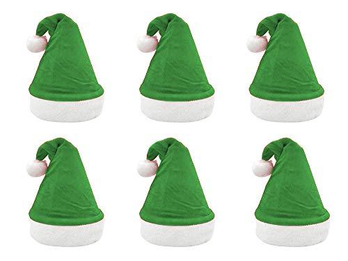 Pack 6 Gorro Papá Noel de Navidad de Santa Claus de Terciopelo de Felpe Suave Sombreros Navideño de Invierno para Fiesta Festiva de Año Nuevo para Adultos y Niños Unisex (FYQ-359 VERDE)