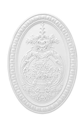 Wandrelief | vorgrundiertes schlagfestes Polyurethane | Bild | Barock | Verzierung | weiß | PU | Hexim Perfect | 500 x 350 mm | K4093