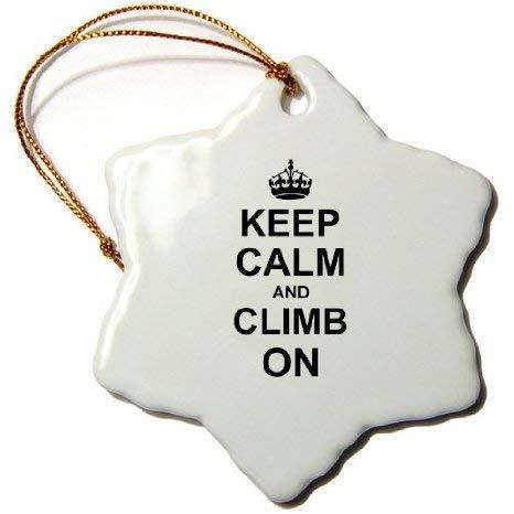 Adorno de porcelana con diseño de copo de nieve con texto en inglés 'Keep Calm And Climb On Carry On', regalo para escaladores de rocas, color negro, divertido humor, árbol de Navidad, adorno para colgar