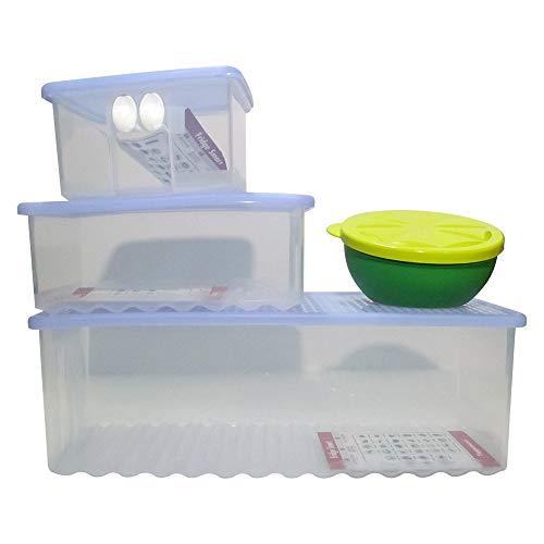 TUPPERWARE Kühlschrank Smart Kühlschrank Container Set klar blau Farbe mit lustiger Zitronenschale hält Lebensmittel frisch und knackig, spülmaschinenfest, für besseren Geschmack, BPA-frei
