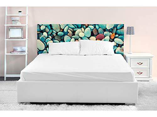 Cabecero Cama PVC Piedras de Colores 150x60cm | Disponible en Varias Medidas | Cabecero Ligero, Elegante, Resistente y Económico
