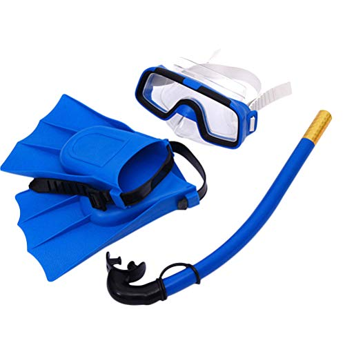 LIOOBO Snorkel Set, Diving Mask with Easy Ajustable Strap 180° Panoramic View and Free Breathing Best Anti-Fog Anti-Leak Snorkel Mask for Adults and Kids(Blue)