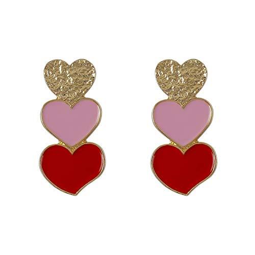 QIN Langes rotes rosa goldenes Herzkran-Augentropfen Koreanischer Stil erklärt Lange Charm-Herz-geformte Ohrringe Ohrringe Schmuckgeschenk