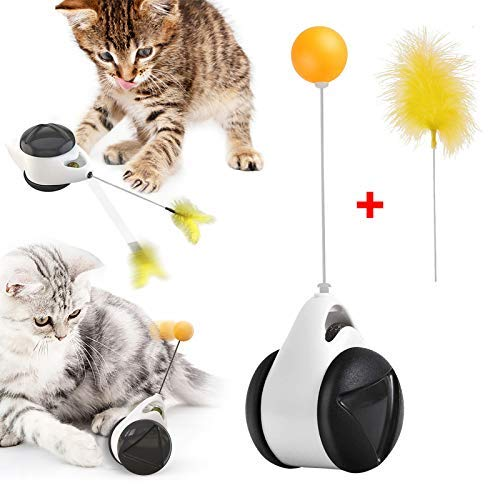 GHEART Katzenspielzeug, Interaktives Spielzeug für Katzen, Federspielzeug, Catnip Katzenspielzeug Beschaftigung & Ausbildung Innen Tumbler Drehbarem Bälle & Federn, ohne Batterien