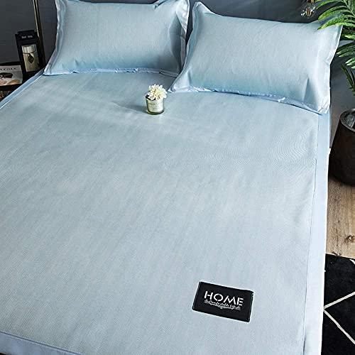 Estera de bambú Estera para dormir de verano Estera de seda de hielo de verano y funda de almohada, doble acondicionamiento de aire acondicionado doble, colchoneta suave, lecho de verano, lavable, ple