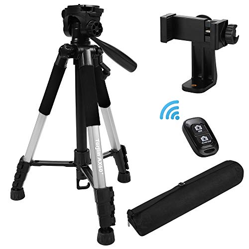 """Torjim 60"""" Camera Tripod with Carry Bag, Lightweight Travel Aluminum Professional Tripod Stand (5kg/11lb Load) with Bluetooth Remote for DSLR SLR Cameras Compatible with iPhone & Android Phone-Silver"""