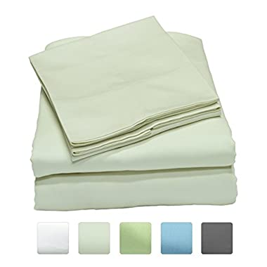 600 Thread Count 100% Long Staple Cotton Sheet Set, Soft & Silky Sateen Weave, Queen Bed Sheets, Elastic Deep Pocket, Hotel Collection, Wrinkle Free, Luxury Bedding, 4 Piece Set, Queen - Ivory