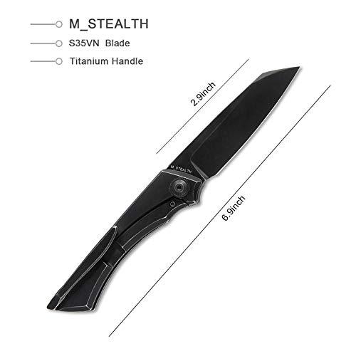 Kizer Black Stonewashed S35VN Blade Pocket Knife, Titanium Handle Folding Knife,M_STEALTH Ki3564A1
