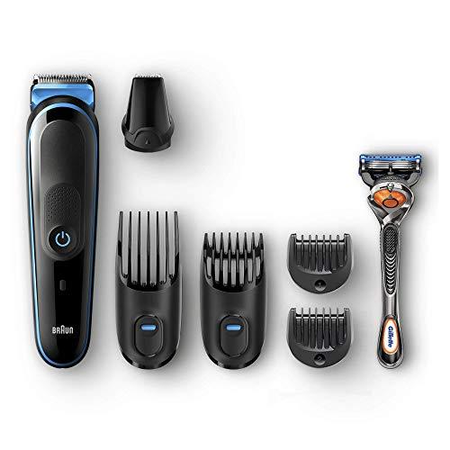 Braun All-in-one MGK5045 depiladora para la barba Negro, Azul - Depiladoras para la barba (0,5 mm, 2 cm, Barba entera, Barba larga, Barba corta, Botones, Barba, Negro, Azul)