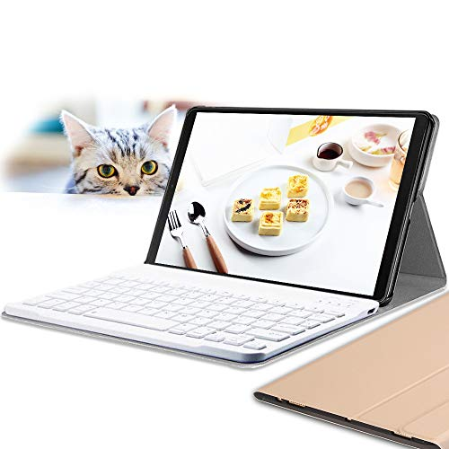 Galaxy Tab S5e 10.5 Keyboard Case, Wineecy PU Leather with Detachable Bluetooth Wireless Keyboard for Samsung Galaxy Tab S5e 10.5'' SM-T720 / T725 2019 (Galaxy Tab S5e 10.5, Gold)