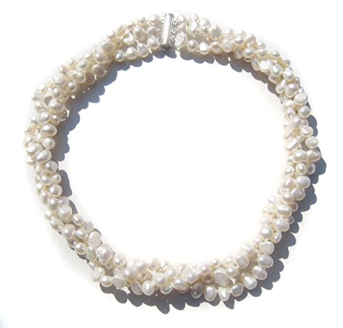 TreasureBay Modern Twist Cultured Freshwater White Baroque Pearl Three-strand chunky necklace