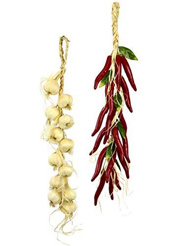 Künstlicher Chili/Knoblauch Zopf Girlande Hänger Gemüse Deko Plastik Realistisch Gefälschtes Gemüse für Dekoration Knoblauch-Chili-Kette Dekoattrappe Lebensmittelnachbildung Fake Food 2er Set