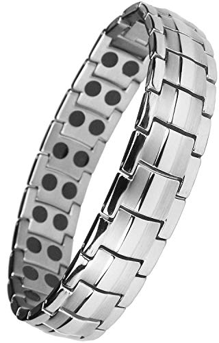 MPS® Bracelet magnétique pour homme, HOMER titane bracelet aimanté, Avec outil gratuit pour enlever liens, Gris Argenté