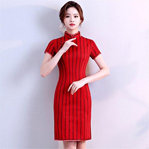 YAN Vestido de Mujer Vestido de Mujer Cheongsam Vestido Corto Chino Vestido de Coctel de Qipao de algodón Mujer Boda Diaria (Color : Rojo, tamaño : SG)