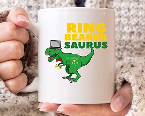 DKISEE Taza de café con anillo portador de saurus, Tyrannosaurus rex regalo de día de boda para Page Boy, divertido anillo de seguridad Trex taza de café para portadores de anillos