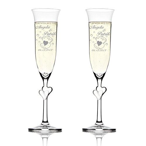 Stölzle Lausitz Amour Ensemble de 2 coupes à champagne avec gravure personnalisée motif cœur dans avec coquillage et bulles