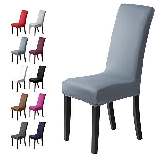 Coprisedie con schienale 6pezzi Elasticizzato Copertura della sedia bi-elastico per una misura universale, Coppia spandex Coprisedia molto facile da pulire e di lunga durata(Confezione da 6,Fog-Blu)