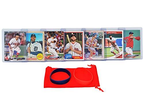Boston Red Sox Baseball Cards: Rafael Devers, J.D. Martinez, Dustin Pedroia, Xander Bogaerts, Mitch Moreland, Andrew Benintendi, Eduardo Rodriguez ASSORTED Trading Card and Wristbands Bundle