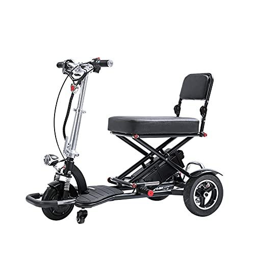 Scooter De Movilidad De 3 Ruedas, Multifunción, Plegable, De Dos Plazas, De Viaje, Carrito De Equipaje Eléctrico, Transformador, Scooter Plegable para Adultos Y Personas Mayores,Negro