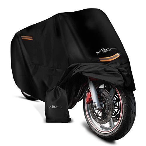 AS-Design – Universelle Motorrad Abdeckplane mit Schlosslöchern - Motorrad Zubehör [245x105x125 cm] – Motorradabdeckung Wasserdicht [190T] – Abdeckhaube Outdoor für Roller und Moped