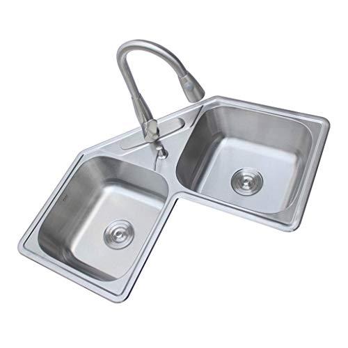 Pkfinrd Kitchen Sink dubbele vaas vierkante roestvrij stalen keuken maken de serie voor beide onderbouw en vlakverzonken montage Satin Finish 11.21
