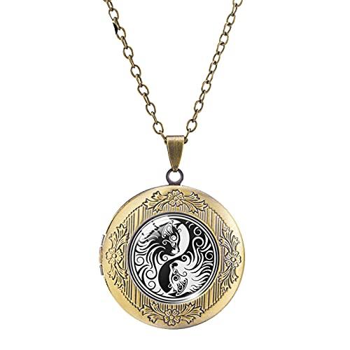 Collar con Medallón De Gato Yin Yang, Colgantes Blancos Y Negros, Cabujón De Cristal Redondo, Joyería Fotográfica, Regalos Hechos A Mano 50 + 5Cm