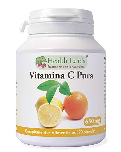 Vitamina C pura 650 mg x 90 cápsulas, Ácido ascórbico, Sin amortiguar y NO OGM, Apto para vegetarianos y vegetarianos, sin Estearato de magnesio o aditivos desagradables, Fabricado en el Gales