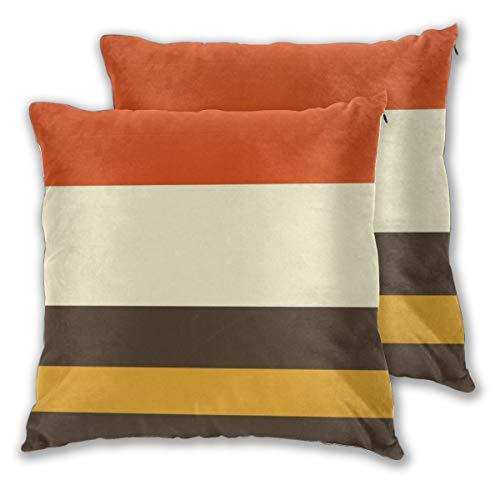 Juego de 2 fundas de cojín, diseño vintage, color naranja, gris, amarillo, crema, a rayas, cuadradas, fundas de almohada decorativas, fundas de almohada para dormitorio, sala de estar, 45 x 45 cm