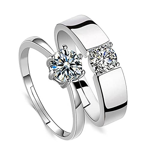 LINYIN 2pcs Open Wedding Ring Men And Women Diamond Ring Silver Plated Couple Ring Ideas
