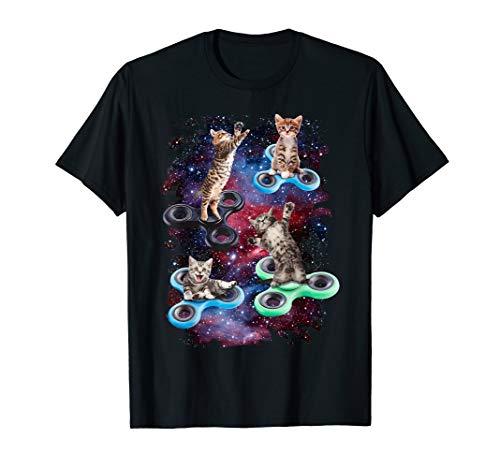 Fidget Spinner Fidget Kitties In Space Graphic T-Shirt