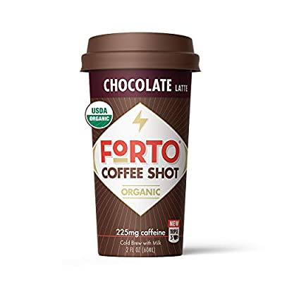 FORTO Coffee Shots - Chocolate Latte, Ready-to-Drink on the go, High Energy Cold Brew Coffee - Fast Coffee Energy Boost, 2 Fl Oz, Pack of 6