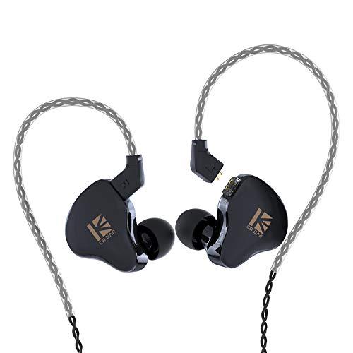 KBEAR KS1 in Ear Monitor, Auriculares Estéreo con Cable, Doble Circuito Magnectic Dinámico, HiFi Auriculares Cancelación de Ruido, Cable Desmontable(Negro, sin Mic)