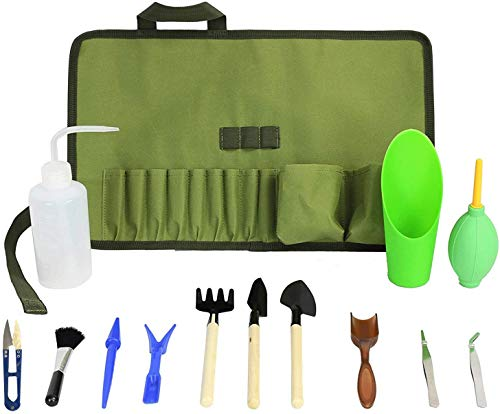 Succulent Kit Roll Organizer Gardening Tool Set | Terrarium Supplies Mini Succulent Garden Tool Kit | Heavy Duty Succulent Bonsai Planter Set Indoor Gardening | Fairy Zen Kit for Soil Fertilizer Seeds