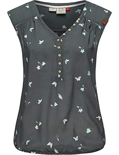 Ragwear Damen Kurzärmelige Bluse Printshirt Blusentop Sommerbluse Salty A Anthrazit Gr. XS