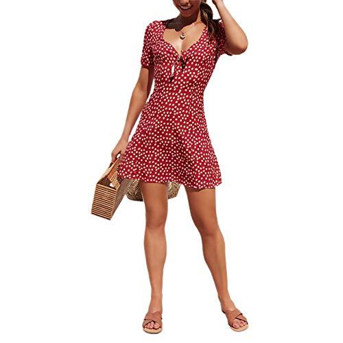 Vestido corto de verano para mujer, de lunares, de manga corta, cuello en V, de color liso, de verano, rojo, XL