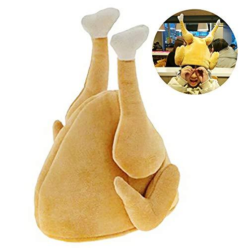 JujubeZAO Hut, lustiges Truthahn-Huhn, bewegliches Bein, Plüsch, gefüllt, Musikalischer Hut, Halloween-Trick-Requisite multi