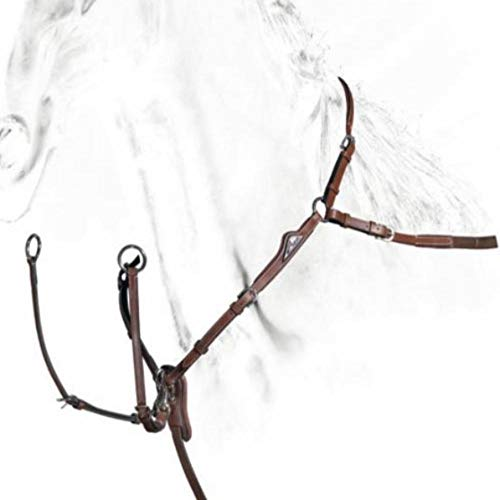 Equiline Vorderzeug Breastplate with Double Regulation Leder, braun, mit silbernem Emblem, Größe Pferd:Cob