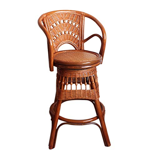 YDDZ Barstuhl, Drehstuhl aus Naturpflanze Rattan, Wohnzimmer Balkon Bar Lounge Chair, Hochhocker (hell, dunkel) (Farbe : Helle Farbe)